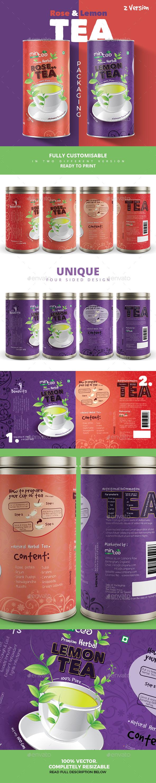 Rose & Lemon Tea Packaging - Packaging Print Templates