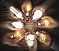 Hands Show Light Bulb Ideas Together Partnership - PhotoDune Item for Sale