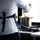 Rear view of chef cooking spaghetti in pot on stove - PhotoDune Item for Sale
