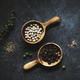 Aerial view of peppercorns on black background - PhotoDune Item for Sale
