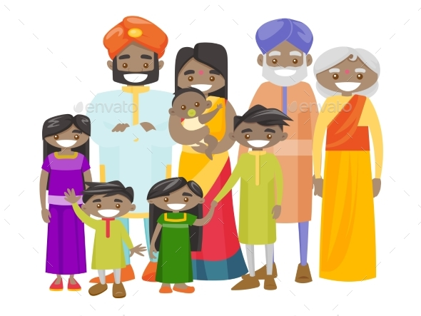 Extended Indian Family with Cheerful Smile - People Characters