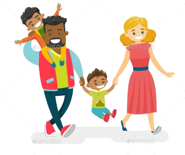 Multiracial Family Walking and Having Fun - People Characters