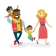 Multiracial Family Walking and Having Fun - GraphicRiver Item for Sale