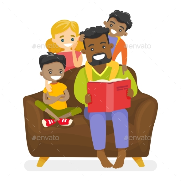 Father Reading a Book to Children - People Characters