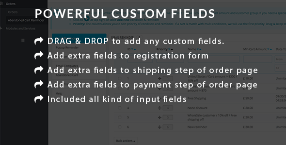 Powerful Custom Fields for user registration and order