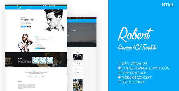 Download Free Robert || Resume / CV Template