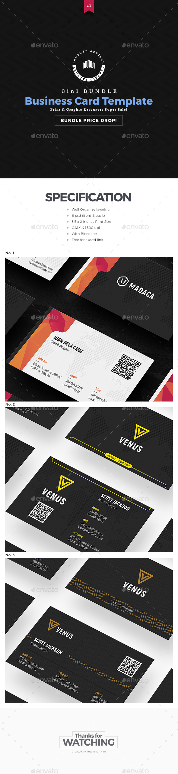 Business Card - 3in1 Bundle - Creative Business Cards