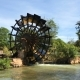 Working Watermill Wooden Wheel on a River with Falling Water in the Village - VideoHive Item for Sale