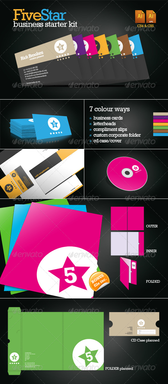 FiveStar Business Starter Pack - Stationery Print Templates