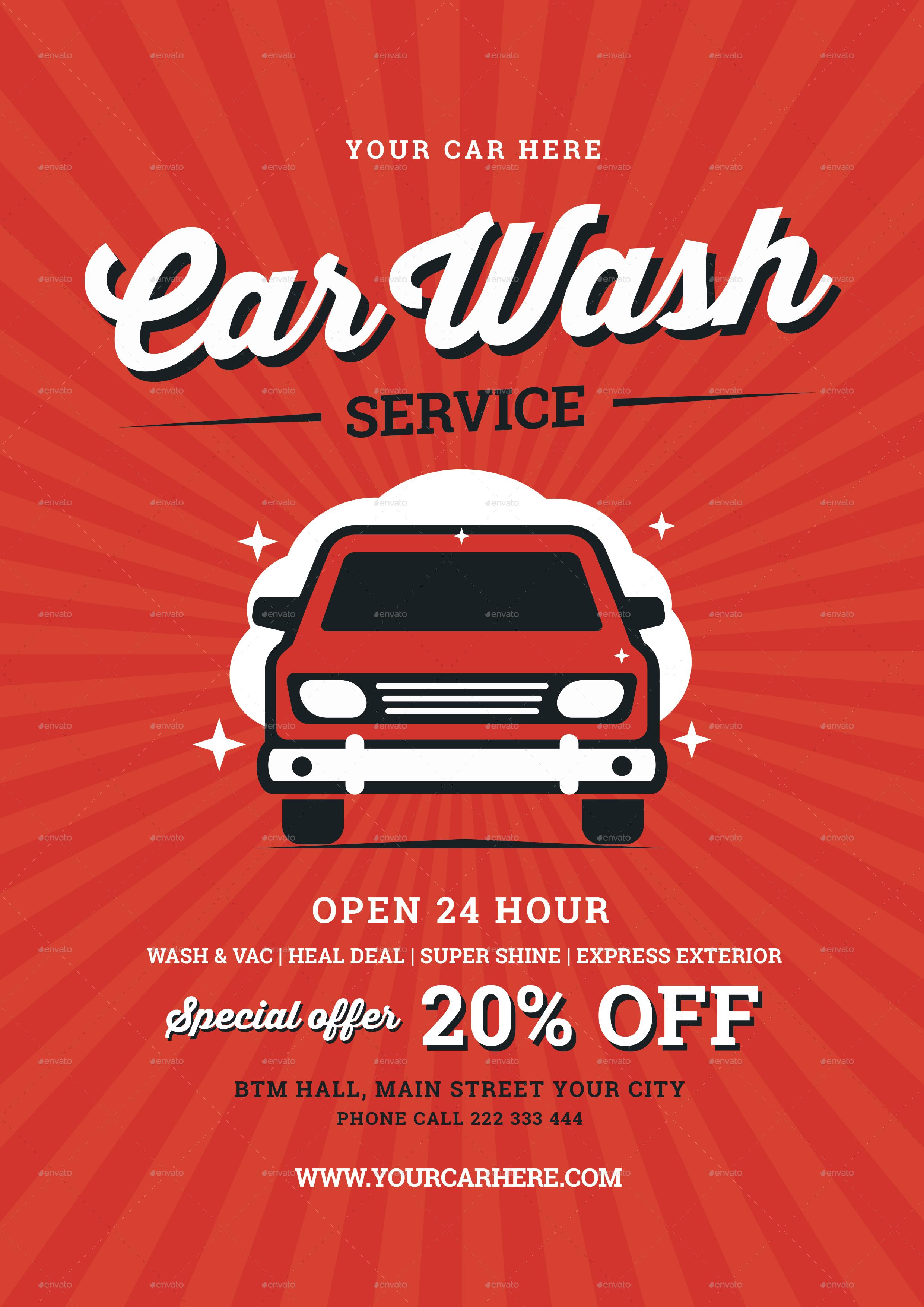 Preview Image Set/01_Vintage Car Wash Flyer ...  Car Flyers