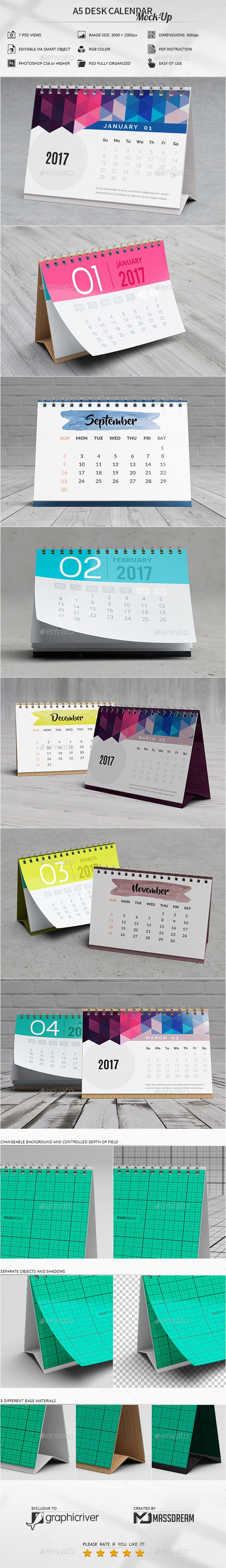 GraphicRiver A5 Desk Calendar Mock-Up 20783389