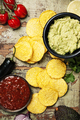 Mexican nachos chips with homemade fresh guacamole sauce and sal - PhotoDune Item for Sale