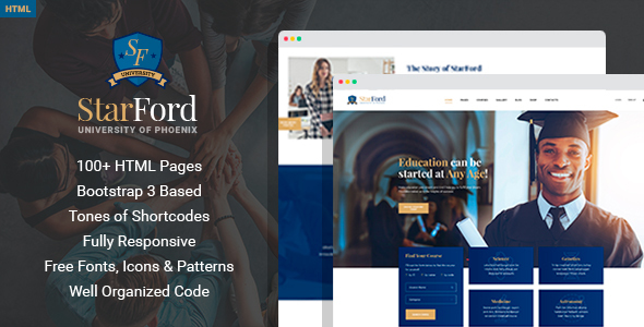 StarFord University - Educational HTML Template with Page Builder