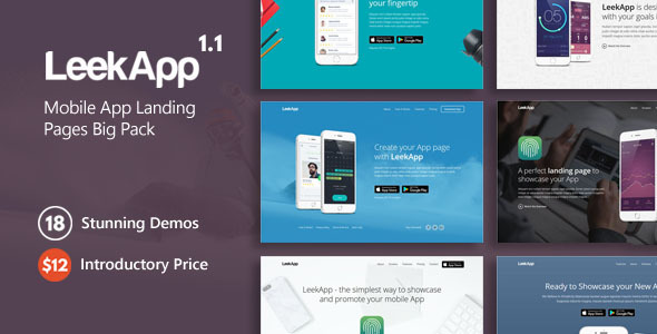 Image of LeekApp - Mobile App Landing Pages Big Pack