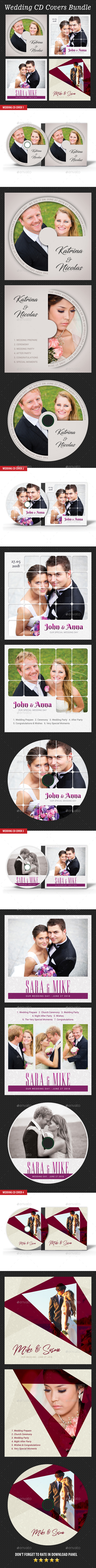 4 in 1 Wedding CD Cover Templates Bundle V3 - CD & DVD Artwork Print Templates