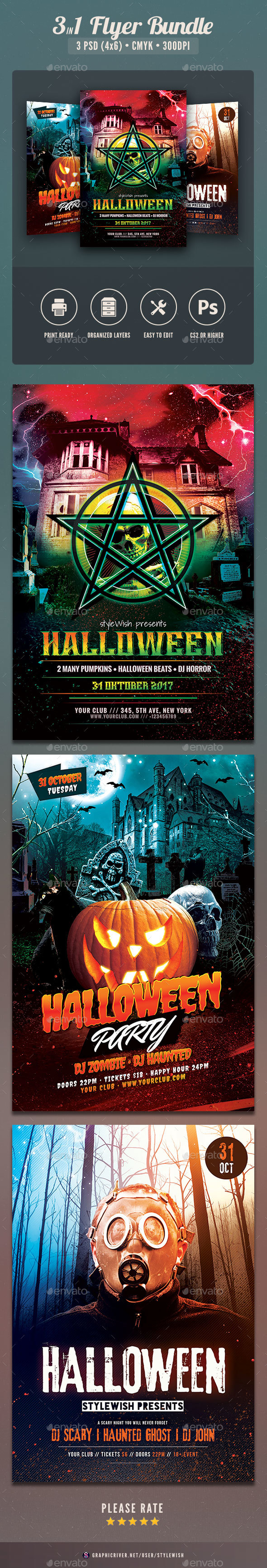 Halloween Flyer Bundle Vol.04 - Clubs & Parties Events