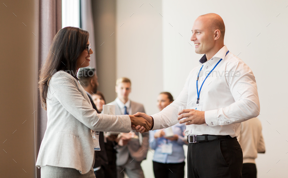 handshake of people at business conference - Stock Photo - Images