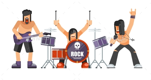 Rock Music or Rockers Band Performing on Stage - People Characters