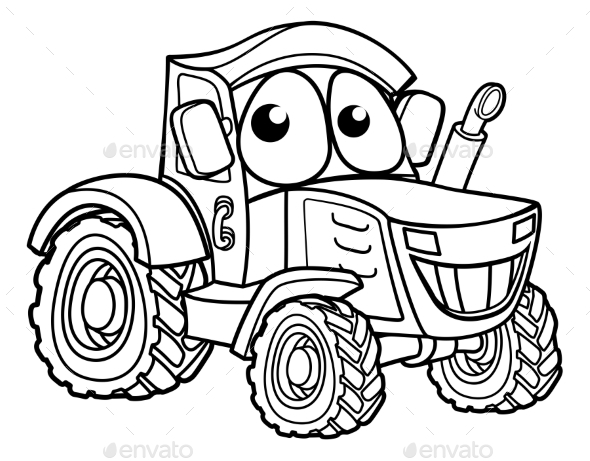 GraphicRiver Tractor Cartoon Character 20784437