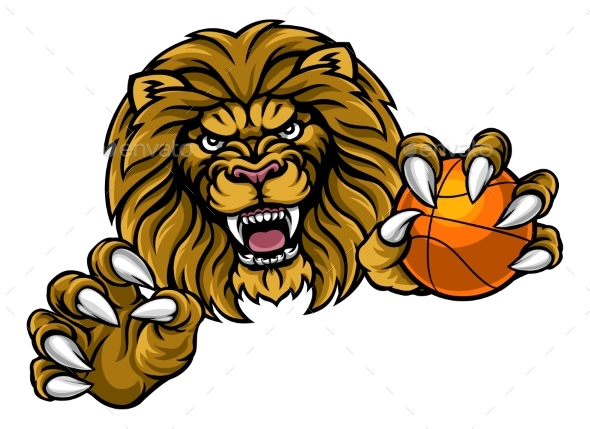 GraphicRiver Lion Basketball Ball Sports Mascot 20784447