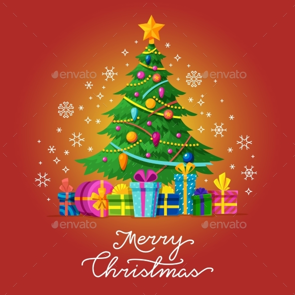 Merry Christmas Vector Greeting Card with Xmas - Christmas Seasons/Holidays
