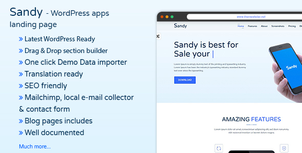 Download Sandy - Apps Landing Page WordPress Theme