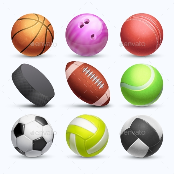 Different 3d Sports Balls Vector Collection - Objects Vectors