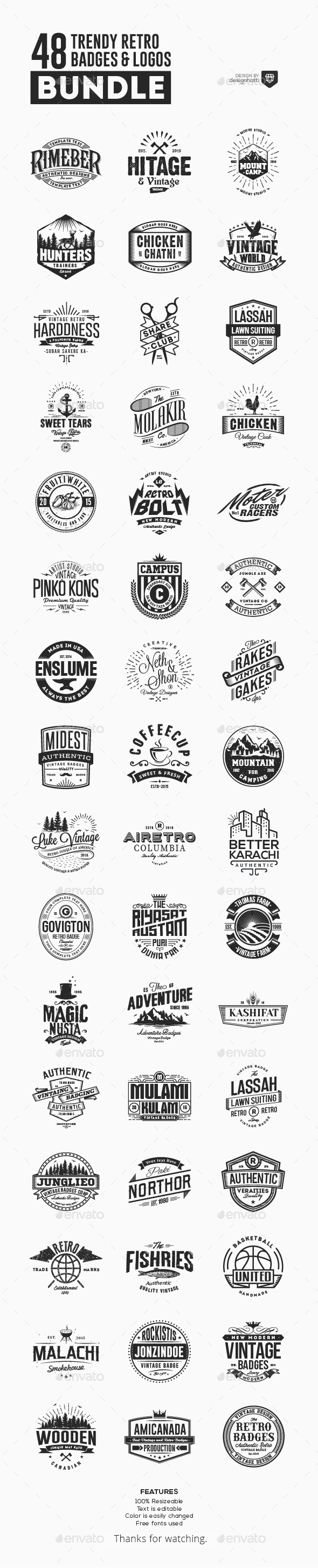 GraphicRiver 48 Trendy Retro Badges and Logos Bundle 20785360