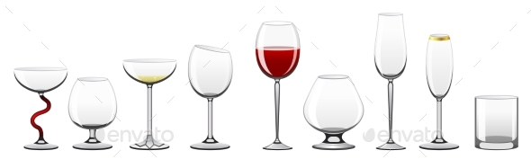 Stemware - Realistic Vector Isolated Clip Art Set - Food Objects