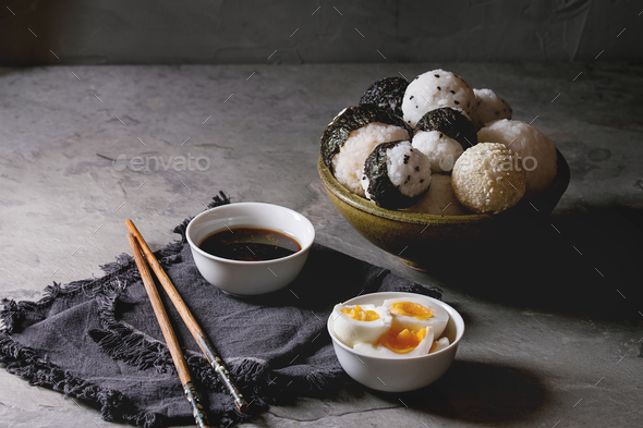 Rice balls and eggs - Stock Photo - Images