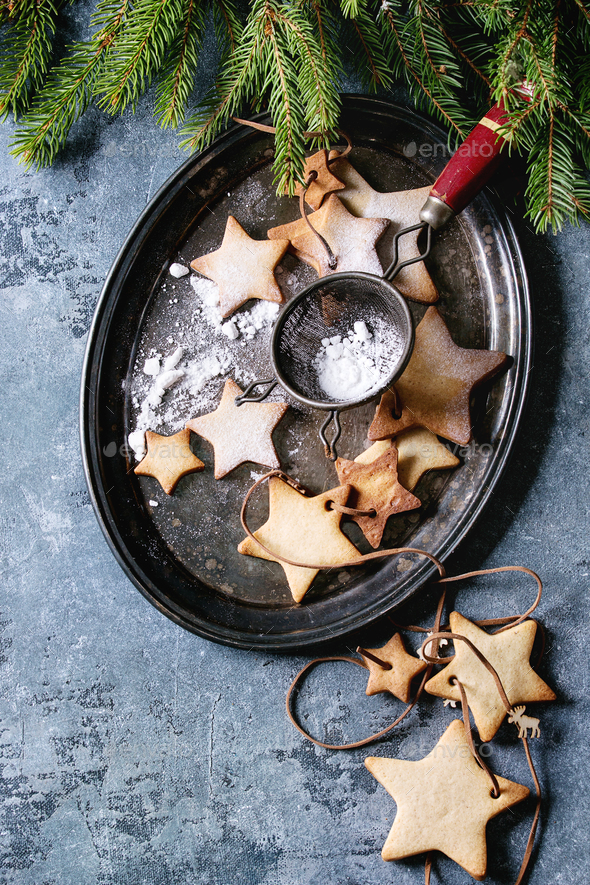 Christmas star shape sugar cookies - Stock Photo - Images
