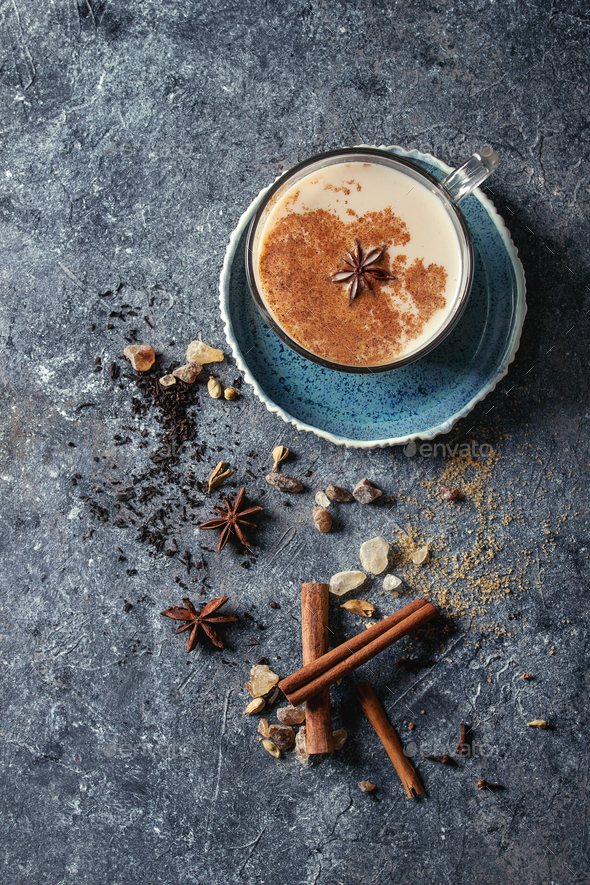 Masala chai with ingredients - Stock Photo - Images