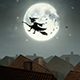 Old Witch Flying On Broomstick Over City