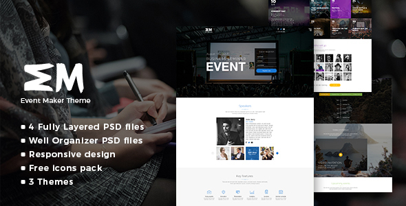 Event Maker - Events, Meetings & Seminars PSD Template - Events Entertainment