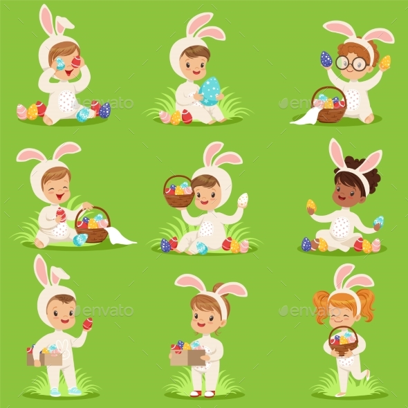 GraphicRiver Easter Set with Eggs and Children in Bunny 20785937