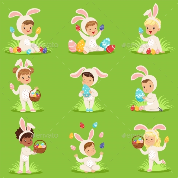 GraphicRiver Easter Set with Eggs and Children in Bunny 20785943
