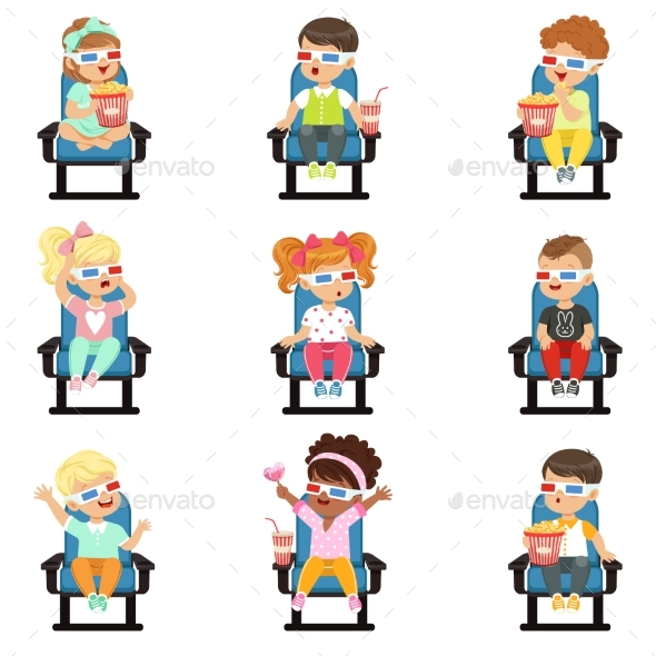 Icons Set of Little Children in 3D-glasses - People Characters