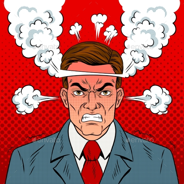 Angry Man with Boiling Head Pop Art Vector - People Characters