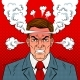 Angry Man with Boiling Head Pop Art Vector