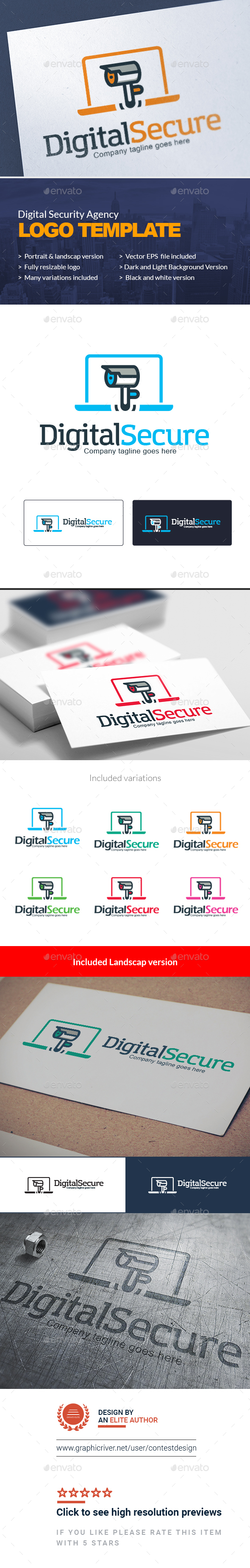 GraphicRiver Digital Security Agency Logo Template Security Camera Online Security Web Camera Logo Template 20350634