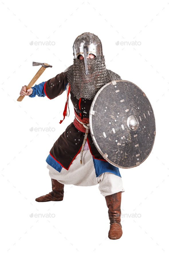 Mongol warrior in armour - Stock Photo - Images