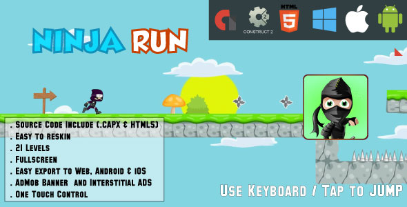 Ninja Run Adventure - 21 levels - HTML5 Game Fullscreen display - Web & Mobile + AdMob (CAPX) - CodeCanyon Item for Sale
