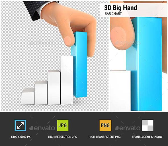 3D Big Hand and Bar Chart - Characters 3D Renders