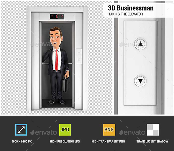3D Businessman Taking the Elevator - Characters 3D Renders