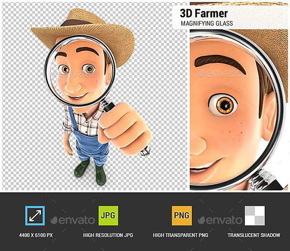 GraphicRiver 3D Farmer Looking Into a Magnifying Glass 20787381
