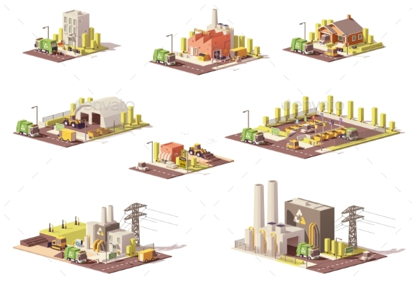 GraphicRiver Vector Low Poly Waste Management Icons 20787511
