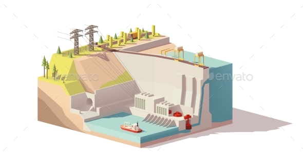 GraphicRiver Vector Low Poly Hydroelectric Power Station 20787520