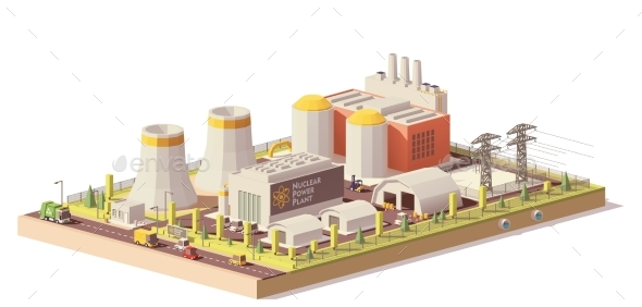 Vector Low Poly Nuclear Power Plant - Industries Business