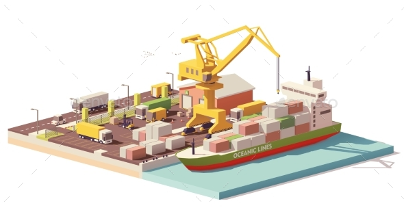 Vector Low Poly Port Container Terminal and Ship - Industries Business