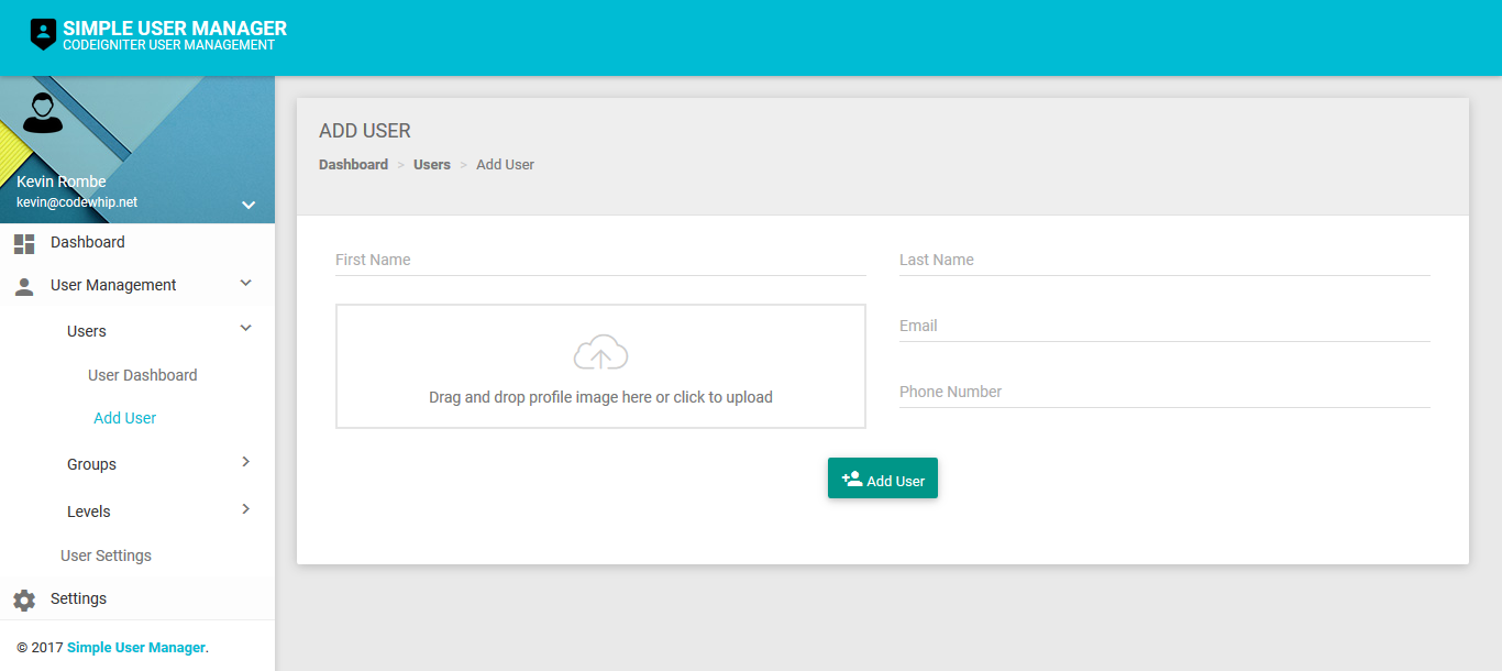 Codeigniter Simple User Manager (Material Design)